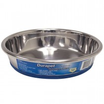 """Our Pets Durapet Premium Rubber-Bonded Stainless Steel Dish 1 cup Silver 5.33"""" x 5.33"""" x 1.14"""""""