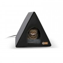 """K&H Pet Products Heated A-Frame Cat House Gray / Black 18"""" x 14"""" x 14"""""""